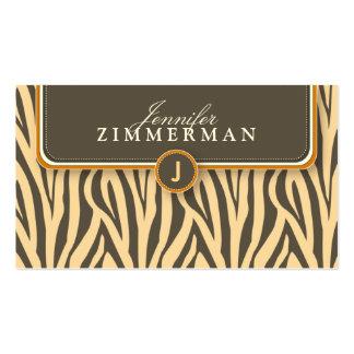 Trendy Zebra Print Designer Business Card :: Coral