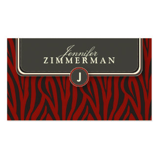 Trendy Zebra Print Designer Business Card: Crimson