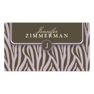 Trendy Zebra Print Designer Business Card :: Lilac