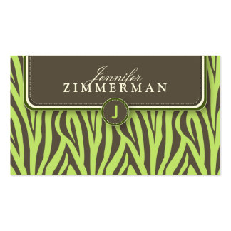 Trendy Zebra Print Designer Business Card :: Lime