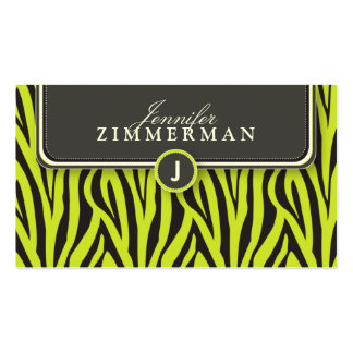 Trendy Zebra Print Designer Business Card: Lime Pack Of Standard Business Cards