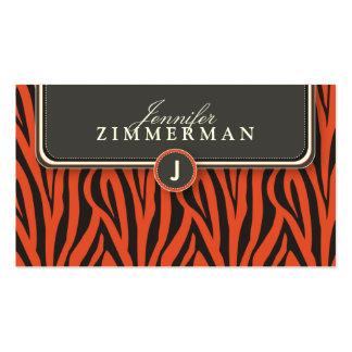 Trendy Zebra Print Designer Business Card: Orange Pack Of Standard Business Cards