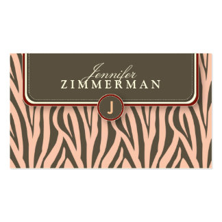 Trendy Zebra Print Designer Business Card :: Pink