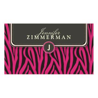 Trendy Zebra Print Designer Business Card: Pink Pack Of Standard Business Cards