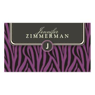 Trendy Zebra Print Designer Business Card Violet
