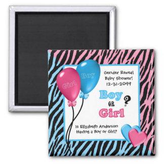 Trendy Zebra Print Gender Reveal Baby Shower Square Magnet