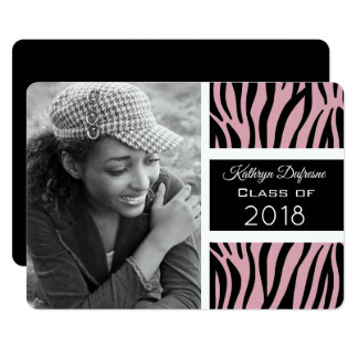Trendy Zebra Print Graduation Party Invitation