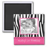Trendy Zebra Print Hot Pink Favour Photo Magnets