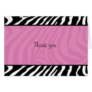 Trendy Zebra Stripe Folded Thank you note Card