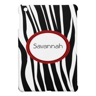 Trendy Zebra Stripes With Red Striped Seal iPad Mini Cases