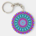 Trendy Zigzag Blue and Purple Kaleidoscope Circle