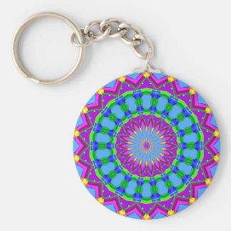 Trendy Zigzag Blue and Purple Kaleidoscope Circle Basic Round Button Key Ring