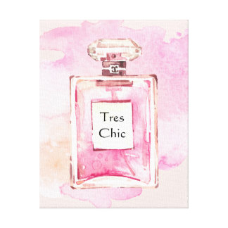 Tres Chic Pink Perfum Bottle Watercolor Canvas Print