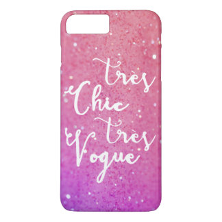 Tres Chic Tres Vogue | Calligraphy Glitter Pink iPhone 7 Plus Case