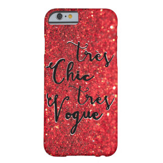 Tres Chic Tres Vogue Sparkling Glitter Red Barely There iPhone 6 Case