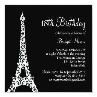 Tres Paris Birthday Invitation (black)