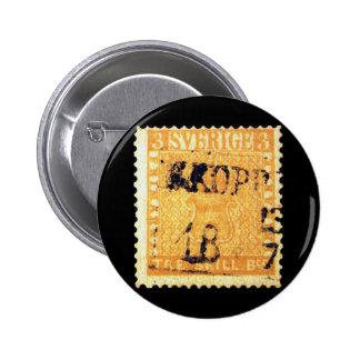 Treskilling Yellow of Sweden Sverige 3 Cent Stamp Pinback Button