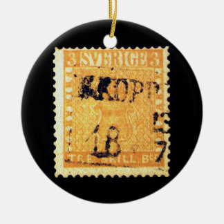 Treskilling Yellow of Sweden Sverige 3 Cent Stamp Double-Sided Ceramic Round Christmas Ornament