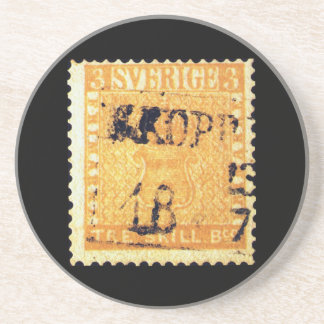 Treskilling Yellow of Sweden Sverige 3 Cent Stamp Drink Coasters