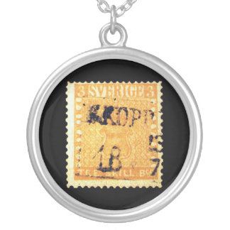 Treskilling Yellow of Sweden Sverige 3 Cent Stamp Round Pendant Necklace