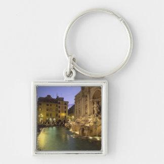 Trevi Fountain at night, Rome, Lazio, Italy Silver-Colored Square Key Ring
