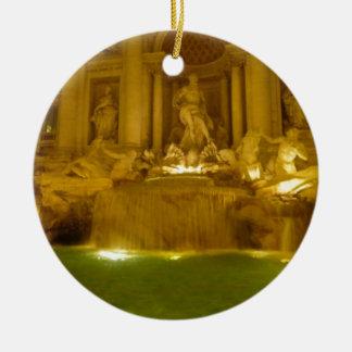 Trevi Fountain evening Round Ceramic Decoration