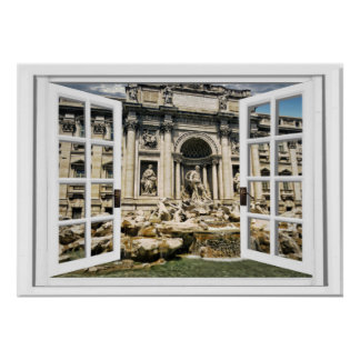 Trevi Fountain Faux Window View Poster