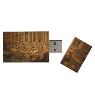 Trevi fountain painting Rome Wood USB 2.0 Flash Drive