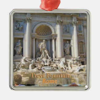 Trevi Fountain Rome Italy Silver-Colored Square Decoration