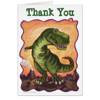 TRex Dinosaur B-Day Thank You Card