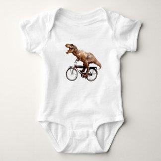Trex riding bike baby bodysuit