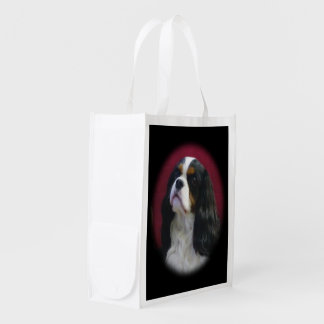 Tri-color Cavalier King Charles Reusable Tote Bag