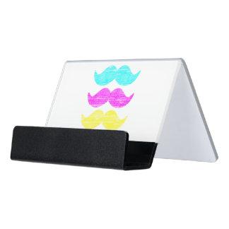 Tri-Color CMY Mustaches Desk Business Card Holder