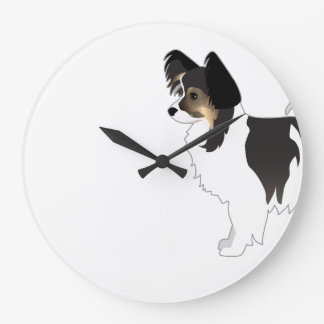 Tri-color Papillon Toy Dog Breed Illustration Large Clock