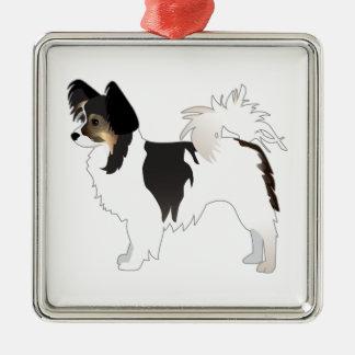 Tri-color Papillon Toy Dog Breed Illustration Silver-Colored Square Decoration