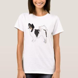 Tri-color Papillon Toy Dog Breed Illustration T-Shirt