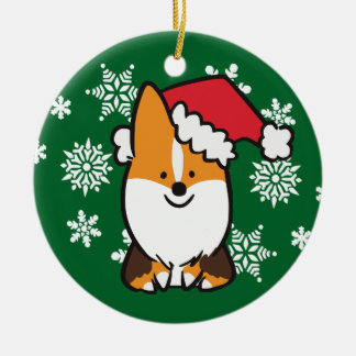 Tri-Color Santa Hat Corgi Ornament | CorgiThings