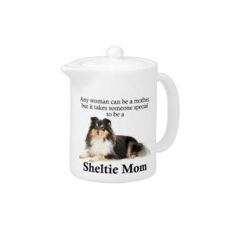 Tri-Color Sheltie Mom Teapot