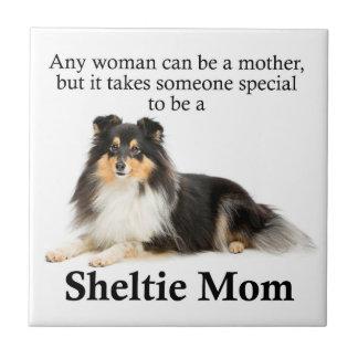 Tri-Color Sheltie Mom Tile