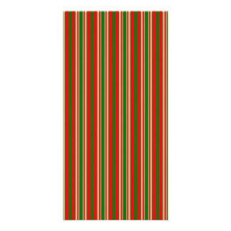 Tri-Color Stripes in Christmas Red, Green & Gold Customized Photo Card