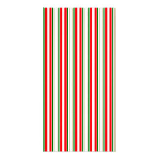 Tri-Color Stripes in Christmas Red, Silver & Green Custom Photo Card