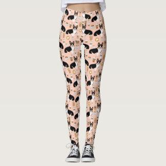 Tri colored Corgi Coffee pattern - blush leggings