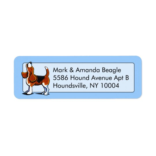 Tri-colour Beagle Bay Studio Blue Return Address Label