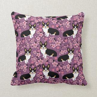 Tri Coloured Corgi Cherry Blossoms - purple Cushion