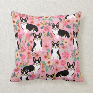 Tri Coloured Corgi Floral pillow - cute corgi gift