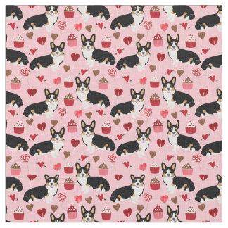 Tri corgi valentines fabric - pink