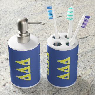 Tri Delta Yellow Letters Soap Dispenser And Toothbrush Holder