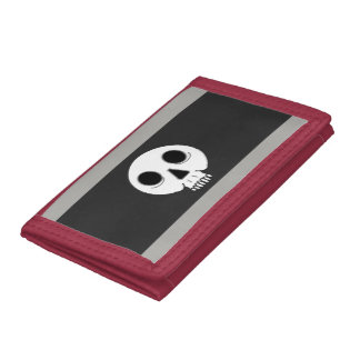 tri-fold nylon wallet with skull design