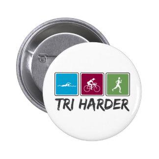 Tri Harder (Triathlon) 6 Cm Round Badge