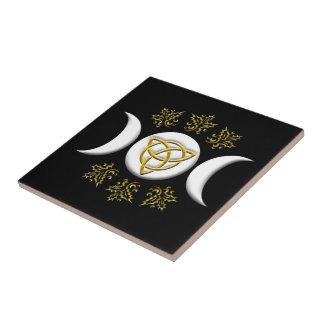 Tri-Moon & Tri-Quatra, With Holly - Tile/Trivet #2 Small Square Tile